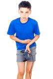 El jugar adolescente con una palanca de mando Imagen de archivo libre de regalías