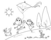 El jugar con la cometa Foto de archivo libre de regalías