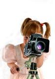 El jugar con photocamera viejo Foto de archivo libre de regalías