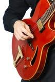 El jugar de la guitarra. Guitarrista. Imagenes de archivo