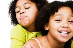 El jugar de las muchachas del afroamericano Foto de archivo libre de regalías