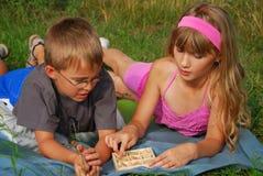 El jugar de los cabritos al aire libre Fotografía de archivo