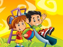 El jugar de los niños de la historieta Imagenes de archivo