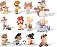 El jugar de los niños de la historieta Imagen de archivo libre de regalías