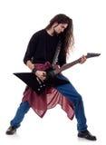El jugar de metales pesados del guitarrista Fotografía de archivo libre de regalías