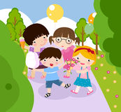 El jugar del muchacho y de la muchacha Imagen de archivo libre de regalías