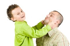 El jugar del padre y del hijo Imagen de archivo