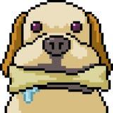 El jugar del perro del arte del pixel del vector ilustración del vector
