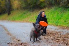El jugar del perro y de la muchacha imagen de archivo libre de regalías
