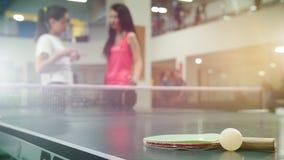 El jugar del ping-pong Mujeres jovenes que hablan en el fondo La estafa y poca bola en el primero plano almacen de video