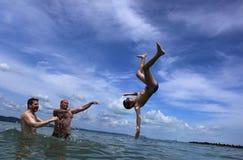 El jugar en agua Fotografía de archivo