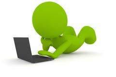 El jugar en la computadora portátil stock de ilustración