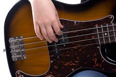 El jugar en la guitarra baja Fotos de archivo libres de regalías