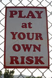 El jugar en su propio riesgo Fotos de archivo libres de regalías