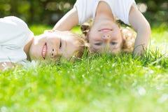 El jugar feliz de los niños Imagen de archivo libre de regalías