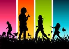 El jugar feliz de los niños Fotografía de archivo