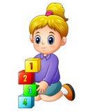 El jugar femenino de la historieta con los cubos del número ilustración del vector