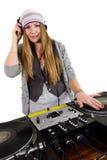 El jugar femenino joven de hip-hop DJ Imágenes de archivo libres de regalías