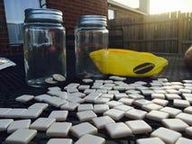 El jugar se arrastra o los plátanos en el patio Fotografía de archivo