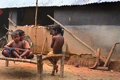 El jugar tribal de los niños Foto de archivo libre de regalías