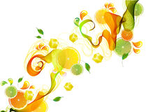 El jugo de la naranja y de cal salpica con la onda abstracta Fotos de archivo libres de regalías