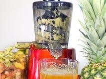 El jugo RPM baja del extractor en el trabajo produce el jugo fresco fuera Foto de archivo