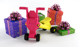 El juguete de los niños con una caja de regalo Fotografía de archivo libre de regalías