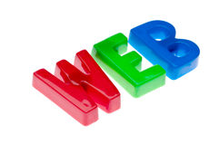 El juguete pone letras al WEB del deletreo - educación en línea Imagen de archivo