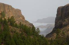 El Juncal山沟和西南峭壁 免版税库存图片