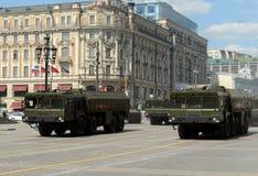 El 9K720 Iskander es un sistema de misiles balístico de corto alcance móvil Fotos de archivo