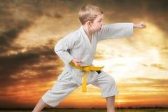 El karate del niño pequeño muestra las técnicas del arte marcial japonés del karate en la puesta del sol en las montañas Entrenam Fotografía de archivo