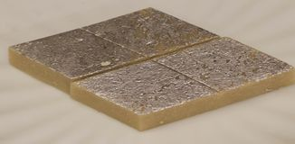 El katli indio del kaju de los dulces sirvió en una placa Foto de archivo