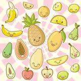 El kawaii del alimento fijó (la parte 1): Frutas Foto de archivo libre de regalías