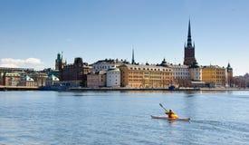 El Kayaking en Estocolmo Imagen de archivo