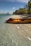 El Kayaking en la bahía de Biscayne Foto de archivo libre de regalías