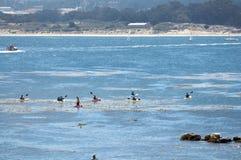 El Kayaking en la orilla cercana del océano. Fotos de archivo libres de regalías