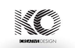El knock-out K O alinea diseño de letra con la cebra elegante creativa stock de ilustración