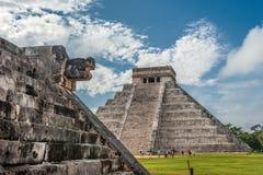 El Kukulkan金字塔,奇琴伊察,尤加坦卡斯蒂略或寺庙  图库摄影