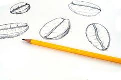 El lápiz amarillo delante de pocos da los granos de café del dibujo de bosquejo en fondo del Libro Blanco Imagenes de archivo