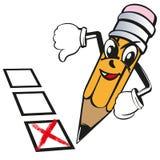 El lápiz de la historieta expresa la aversión de las emociones, cruz no, votando, prueba, bosquejo del ejemplo del vector del exa stock de ilustración