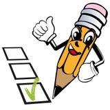 El lápiz de la historieta expresa emociones como, marca de cotejo sí, votando, prueba, bosquejo del ejemplo del vector libre illustration