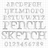 El lápiz del vector bosquejó la fuente Foto de archivo