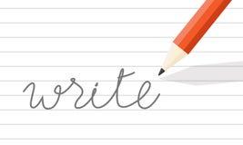El lápiz escribe en la línea papel Foto de archivo