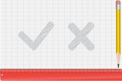 El lápiz, regla y drena un símbolo stock de ilustración