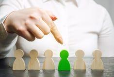 El líder de la mujer elige a la persona en el equipo Gestión de recursos humanos Trabajador talentoso Personal de alquiler Búsque fotos de archivo libres de regalías