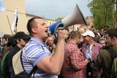 El líder de oposición ruso Nikolai Laskin, en las partes de la oposición rusa para las elecciones justas, puede 6, 2012, Moscú, R Imagenes de archivo