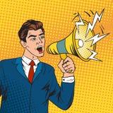 El líder empresarial y el megáfono del jefe del arte pop vector el ejemplo Fotos de archivo