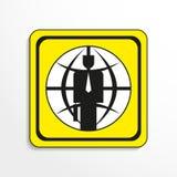 El líder financiero global Engrana el icono Objeto blanco y negro en un fondo amarillo ilustración del vector