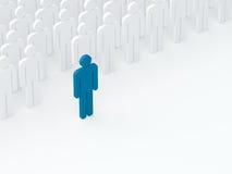 El líder salió de la muchedumbre (concepto de la dirección) (3D rinden) imagenes de archivo