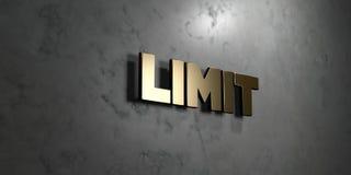 El límite - muestra del oro montada en la pared de mármol brillante - 3D rindió el ejemplo común libre de los derechos ilustración del vector